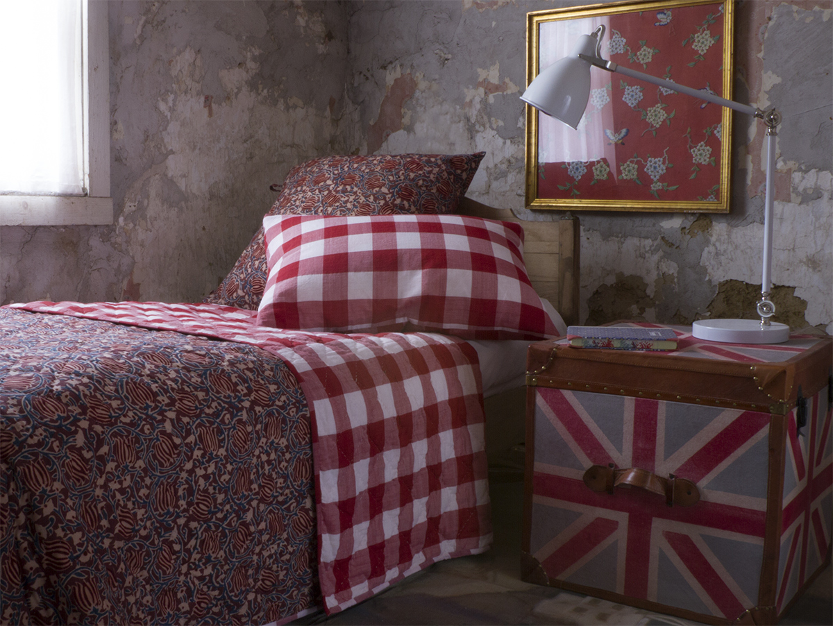 Bianca Red Check Quilt Les Indiennes