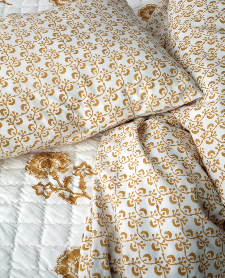 New Lattice Duvet Cover In Gold Les Indiennes