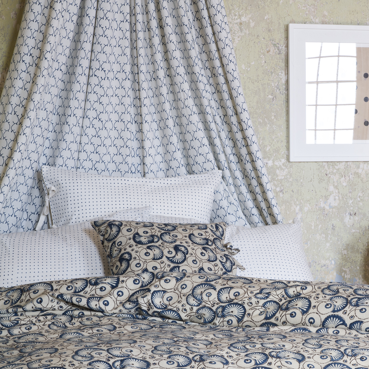 Hailey Indigo Duvet Cover Les Indiennes