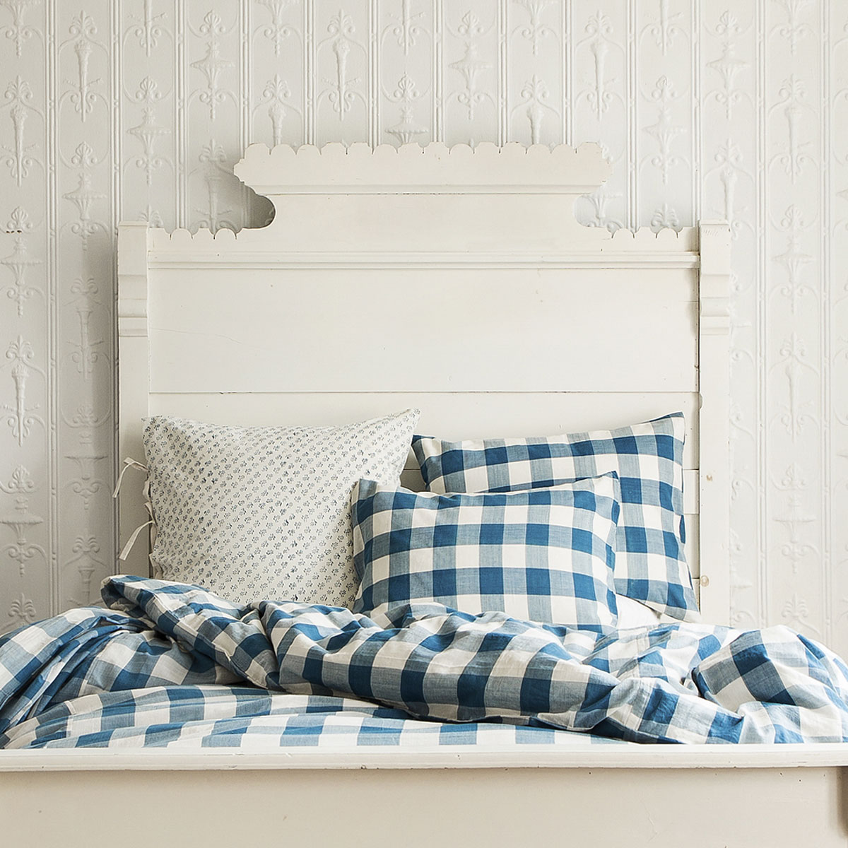Indigo Check Duvet Cover Les Indiennes